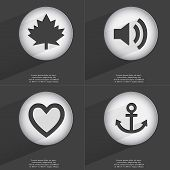 picture of heart sounds  - Maple leaf Sound Heart Anchor icon sign - JPG