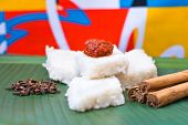 pic of sinhala  - Kiribath, The milk rice is a traditional Sri Lankan food made from rice and coconut milk which is used to be a main food on any cultural ceremony or occasion  ** Note: Shallow depth of field - JPG