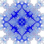 foto of monochromatic  - Blue white monochromatic decorative seamless fractal  pattern  - JPG