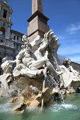 pic of piazza  - Saint Agnese in Agone with Egypts obelisk in Piazza Navona Rome Italy - JPG