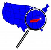 stock photo of united states map  - Tennessee state outline set into a map of The United States of America below a magnifying glass - JPG