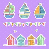 image of beach hut  - A vector illustration of Beach huts - JPG