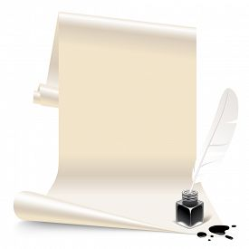 image of inkwells  - Vintage banner in the form of white paper with an inkwell and feather - JPG