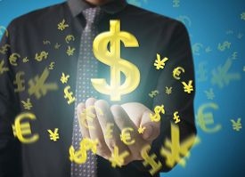 foto of money  - Man touching online button with money icon - JPG