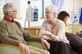 picture of chemotherapy  - Senior Woman With Husband During Chemotherapy Treatment - JPG