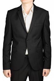 picture of rayon  - Grey mens jacket two buttons buttoned white shirt without a tie dress code cocktail isolated on white background - JPG