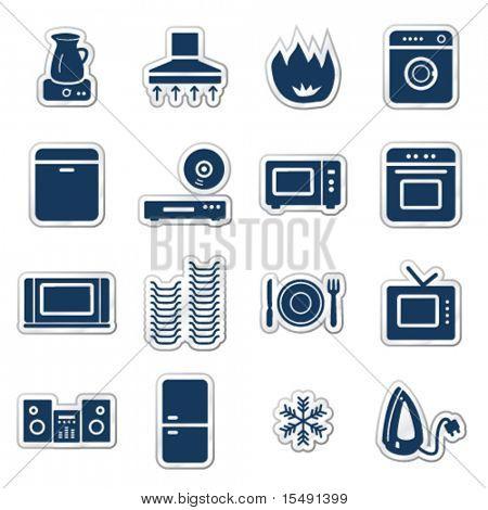 Постер, плакат: Бытовая техника веб иконки военно морского флота стикер серии, холст на подрамнике
