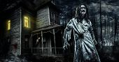 Horror zombie near the abandoned house. Halloween. poster