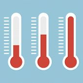 Thermometers In Flat Style And Thermometer Icon, Medical Thermometer Icon poster