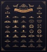 Luxury royal logos set. Crest, crown, emblem, heraldic monogram. Vintage royal flourishes design ele poster