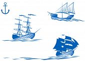 foto of sailing-ship  - Set of sail ships isolated on white for design - JPG