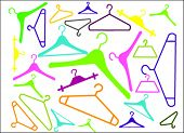 stock photo of clothes hanger  - colored hangers in many shapes on white - JPG