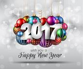 2017 Happy New Year Background for your Seasonal Flyers and Greetings Card or Christmas themed invit poster