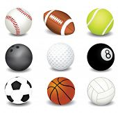 foto of leather tool  - vector illustration of sport balls - JPG
