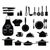 kitchen tools set silhouette
