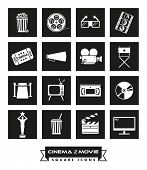 Cinema and Movie icon set. Collection of 16 cinema and movie related vector icons in colored squares poster