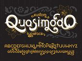Custom retro typeface Quasimodo. Vintage gold alphabet font set with black flowers poster