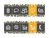 Communication web icons on grey and orange dots bar. Vector file has layers, all icons in two versio