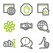 Internet communication web icons, green and gray contour series