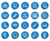 Medicine web icons, blue sticker series