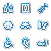 Medicine web icons set 2, blue contour sticker series