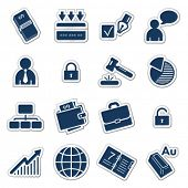 Business web icons, navy sticker series