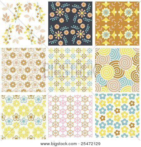 Постер, плакат: Векторный набор девяти красочные бесшовные модели, холст на подрамнике
