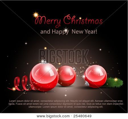 Постер, плакат: Рождественские украшения на черном фоне , холст на подрамнике