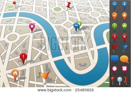 Постер, плакат: Карта города с GPS иконы , холст на подрамнике