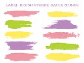 Futuristic Label Brush Stroke Backgrounds, Paint Or Ink Smudges Vector For Tags And Stamps Design. P poster
