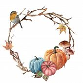 Watercolor Autumn Tree Branch, Bird And Pumpkin Wreath. Hand Painted Wreath With Robin, Mushroom And poster