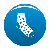 Sock With Heart Icon. Simple Illustration Of Sock With Heart Icon For Any Design Blue poster