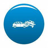 Crashed Car Icon. Simple Illustration Of Crashed Car Icon For Any Design Blue poster