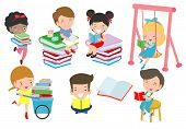 Cute Kids Reading Book,cute Children Reading Books, Happy Children While Reading Books, Vector Illus poster