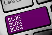 Word Writing Text Blog Blog Blog. Business Concept For Internet Blogging Trend Modern Virtual Commun poster