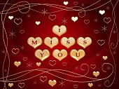 stock photo of miss you  - 3d golden hearts red letters text  - JPG
