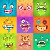Funny Halloween Monsters. Cute And Scary Monster Face With Eyes And Mouth. Strange Creature Mascot C poster