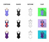 Different Kinds Of Swimsuits. Swimsuits Set Collection Icons In Cartoon, Black, Outline, Flat Style  poster