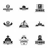 Zombie Way Logo Set. Simple Set Of 9 Zombie Way Vector Logo For Web Isolated On White Background poster