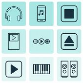 Audio Icons Set With Stop Music, Music Application, Synthesizer And Other Player Elements. Isolated  poster