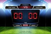 Digital Timing Scoreboard, Football Match Team A Vs Team B, Strategy Broadcast Graphic Template For  poster
