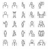 Person Symbols, Basic Outline Vector Icons Collection. Male, Female And Group Of People Basic Positi poster