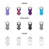 Different Kinds Of Swimsuits. Swimsuits Set Collection Icons In Cartoon, Outline, Monochrome Style V poster