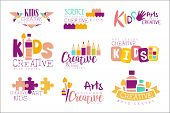 Kids Creative And Science Class Template Promotional Logo Set With Symbols Of Art Creativity, Painti poster