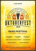 Oktoberfest Beer Festival Celebration. Typography Poster Or Flyer Template For Beer Party. Vintage B poster