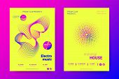 Music Abstract Colorful Poster. Bright Sound Flyer With Distortion Of Circles. Trendy Abstract Cover poster