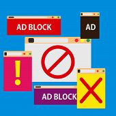 Ad Block Popup Illustration Symbol Color. Promotion Advertisement Isolated Screen Commercial Style.  poster