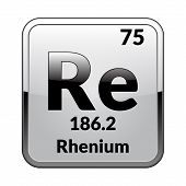 Rhenium Symbol.chemical Element Of The Periodic Table On A Glossy White Background In A Silver Frame poster