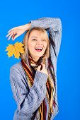 Autumn Mood. Autumn Time. Smiling Woman With Yellow Leaf. Yellow Maple Leaf. Autumn Fashion. Smiling poster