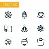 Meditation Icons Line Style Set With Mandala, Floral, Meditation Carpet Elements. Isolated Vector Il poster